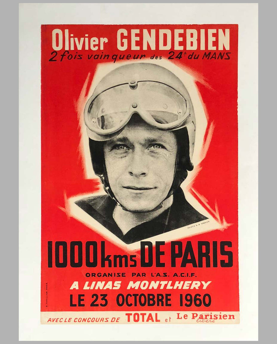 1000 Km de Paris 1960 original advertising Poster at Montlhéry
