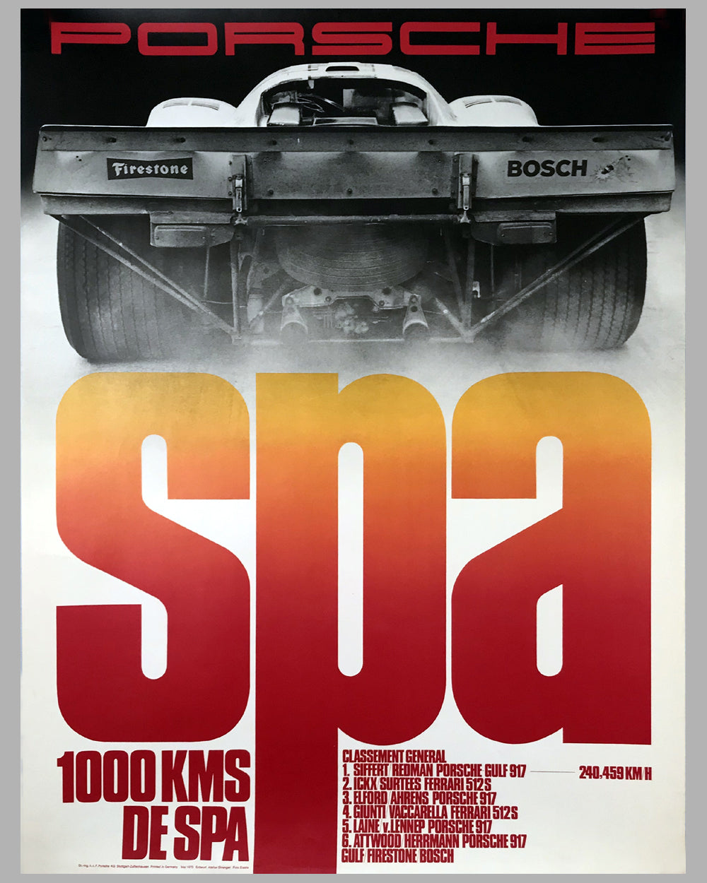 1970 - 1000 KM of Spa Porsche Victory Poster