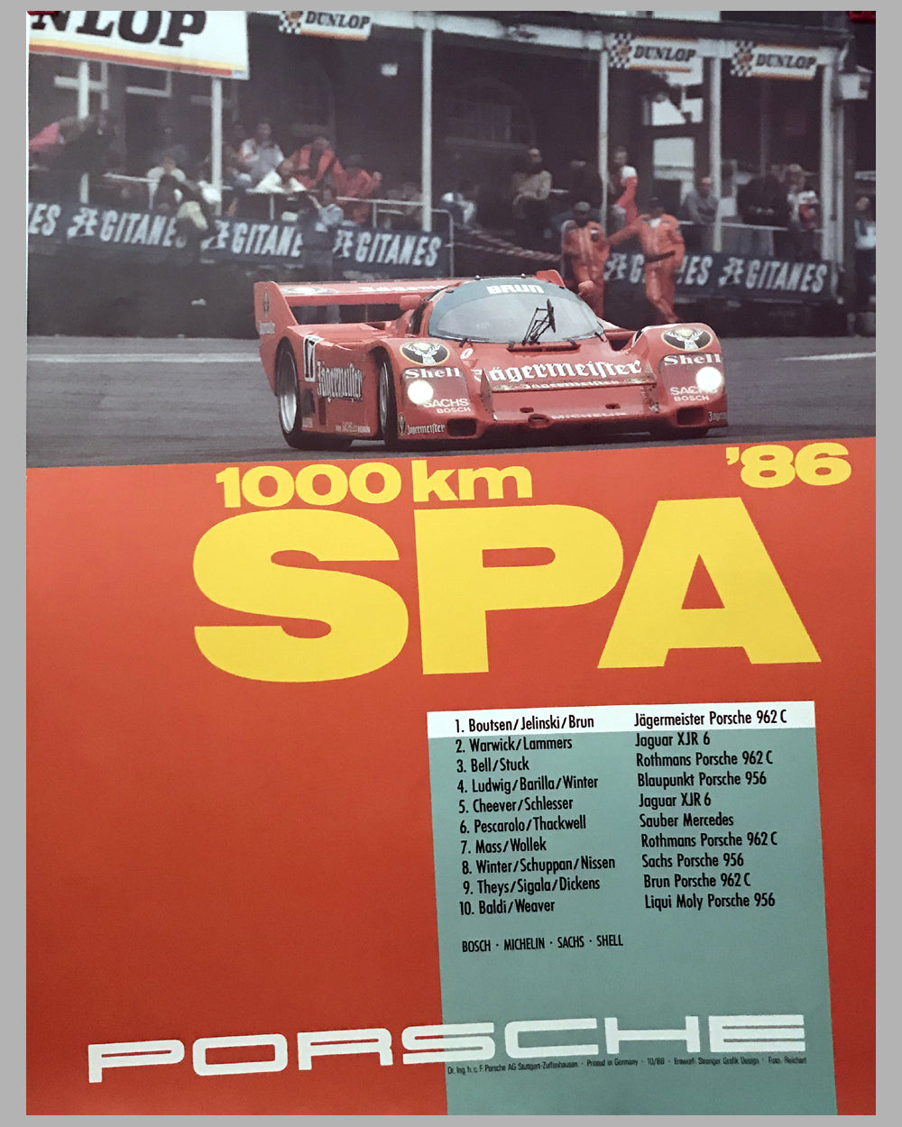 1986 – 1000 KM of Spa Porsche Victory Poster