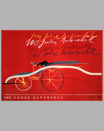 100 Jahre Automobil commemorative poster by Alfred Benz and Rolf Teufel