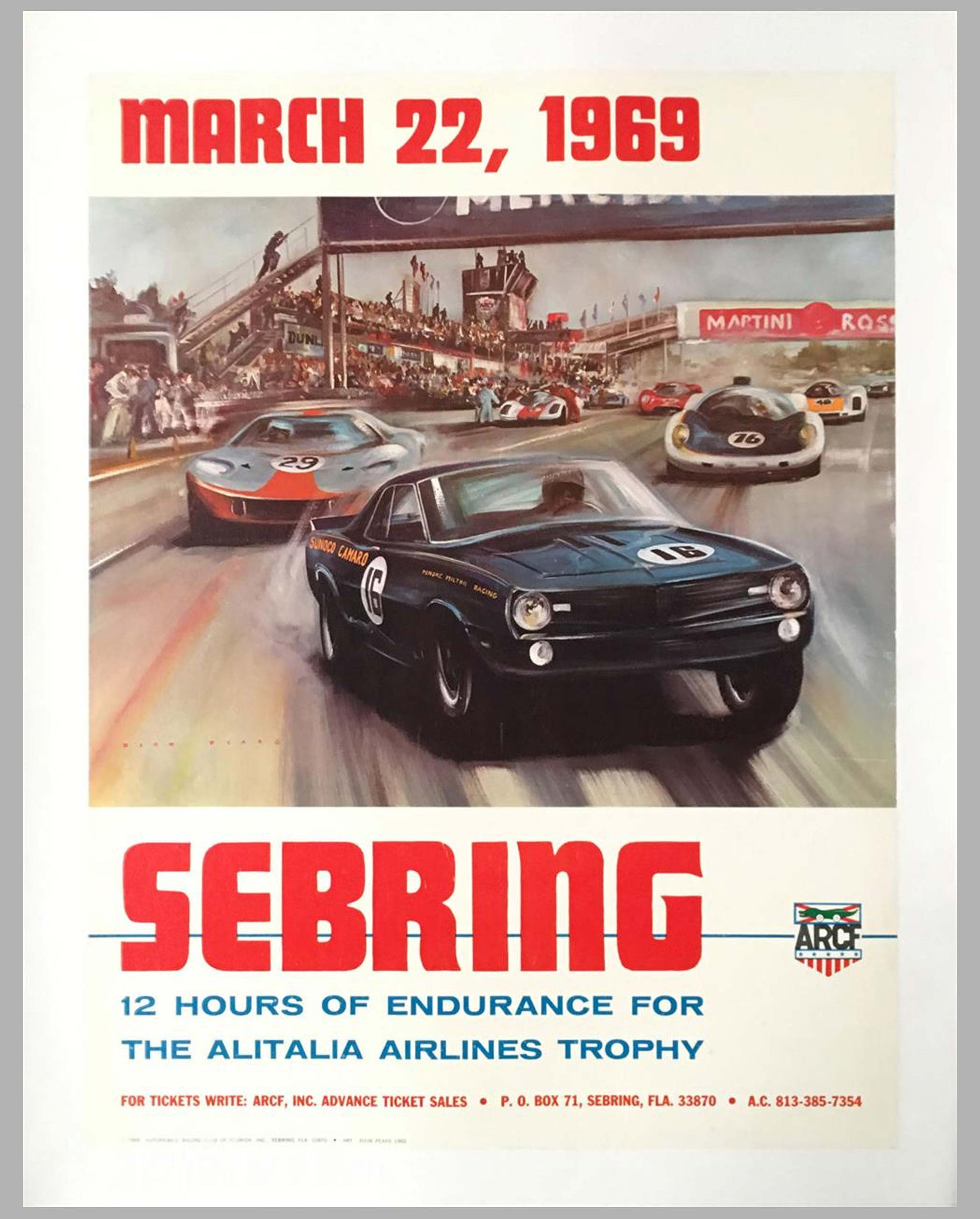 1969 - 12 hours of Sebring race poster by Dion Pears