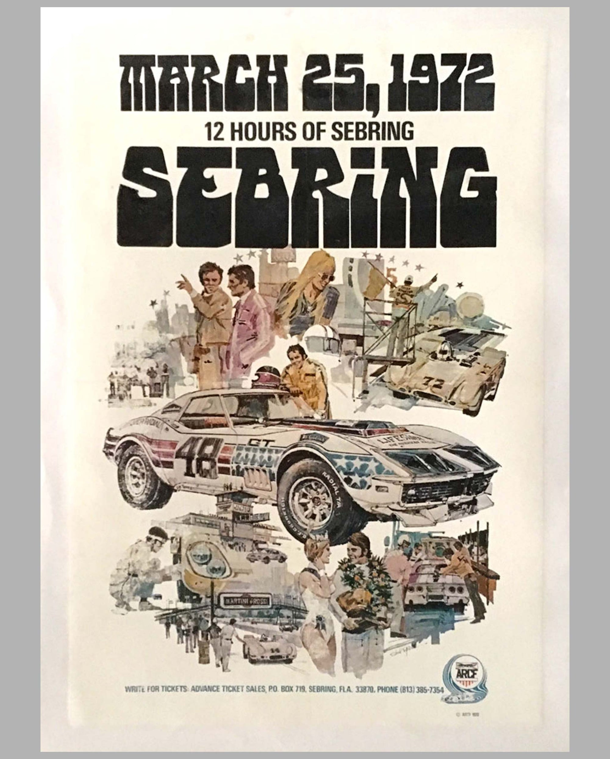 12 Hours of Sebring 1972 original event poster