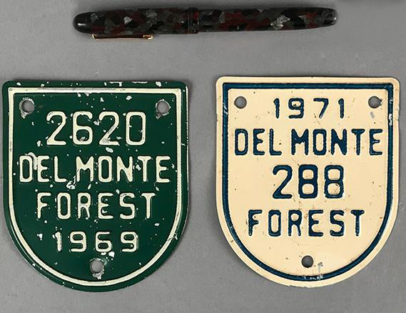 Two Del Monte Forest - Pebble Beach Member's License Plate Badges