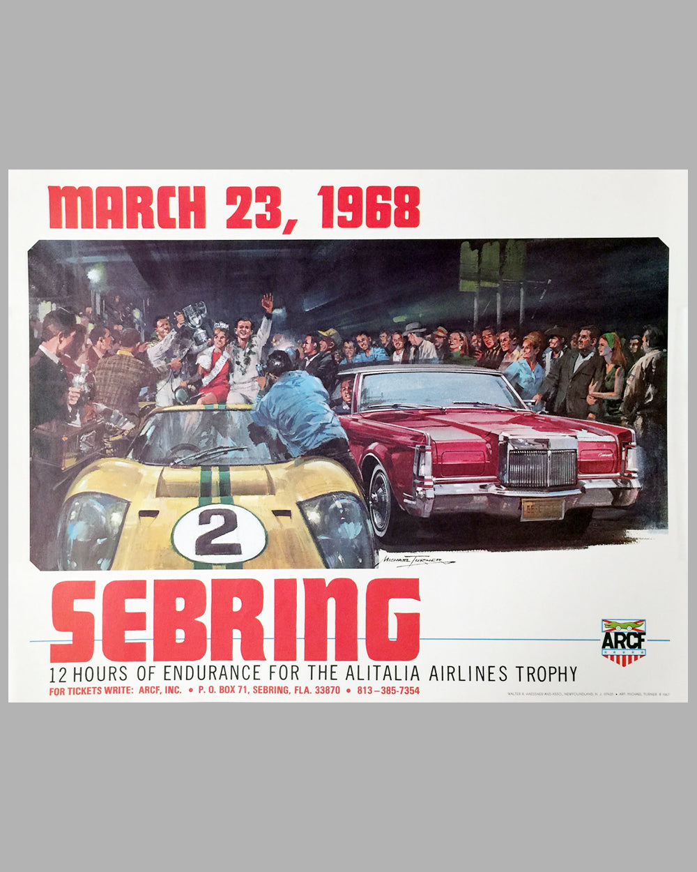 1968 12 Hours of Sebring original event poster by Michael Turner