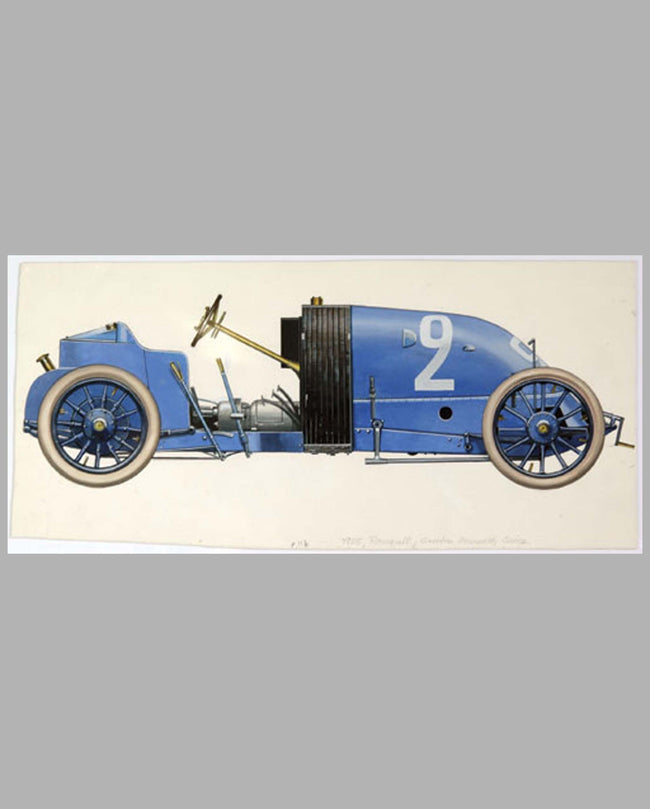 Szicz's 1905 Renault, 13 Litre 4-cyl., Gordon Bennett painting by C. Demand