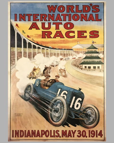 1914 Indianapolis 500 reproduction of official event poster