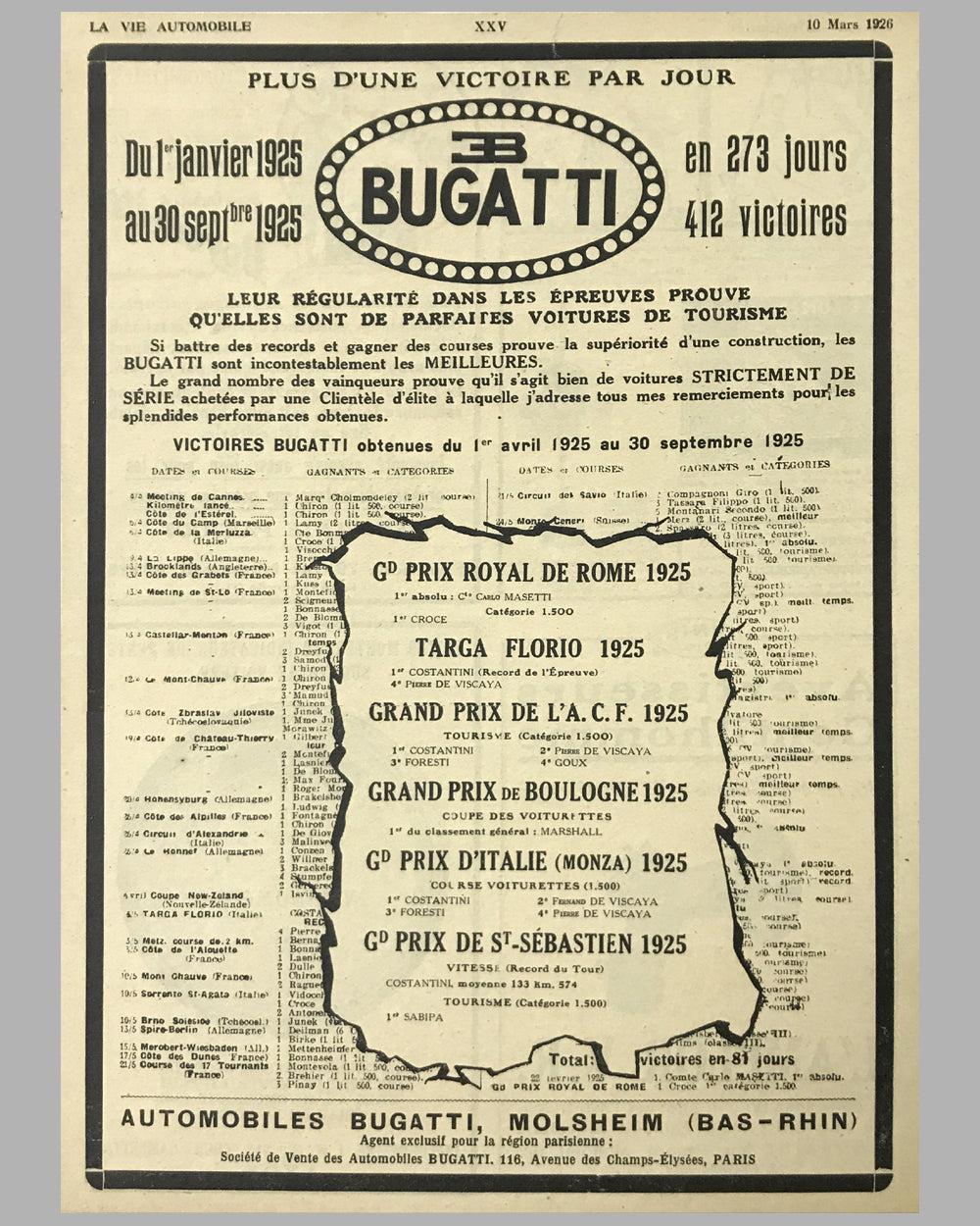 1926 - Bugatti original magazine ad, from March 10 issue of La Vie Automobile
