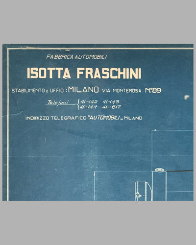 1926 Isotta Fraschini original blueprint for the Tipo 8ASS Normale 2