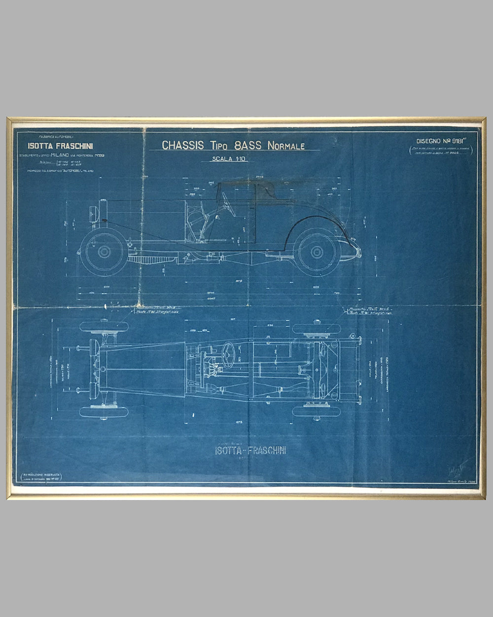 1926 Isotta Fraschini original blueprint for the Tipo 8ASS Normale