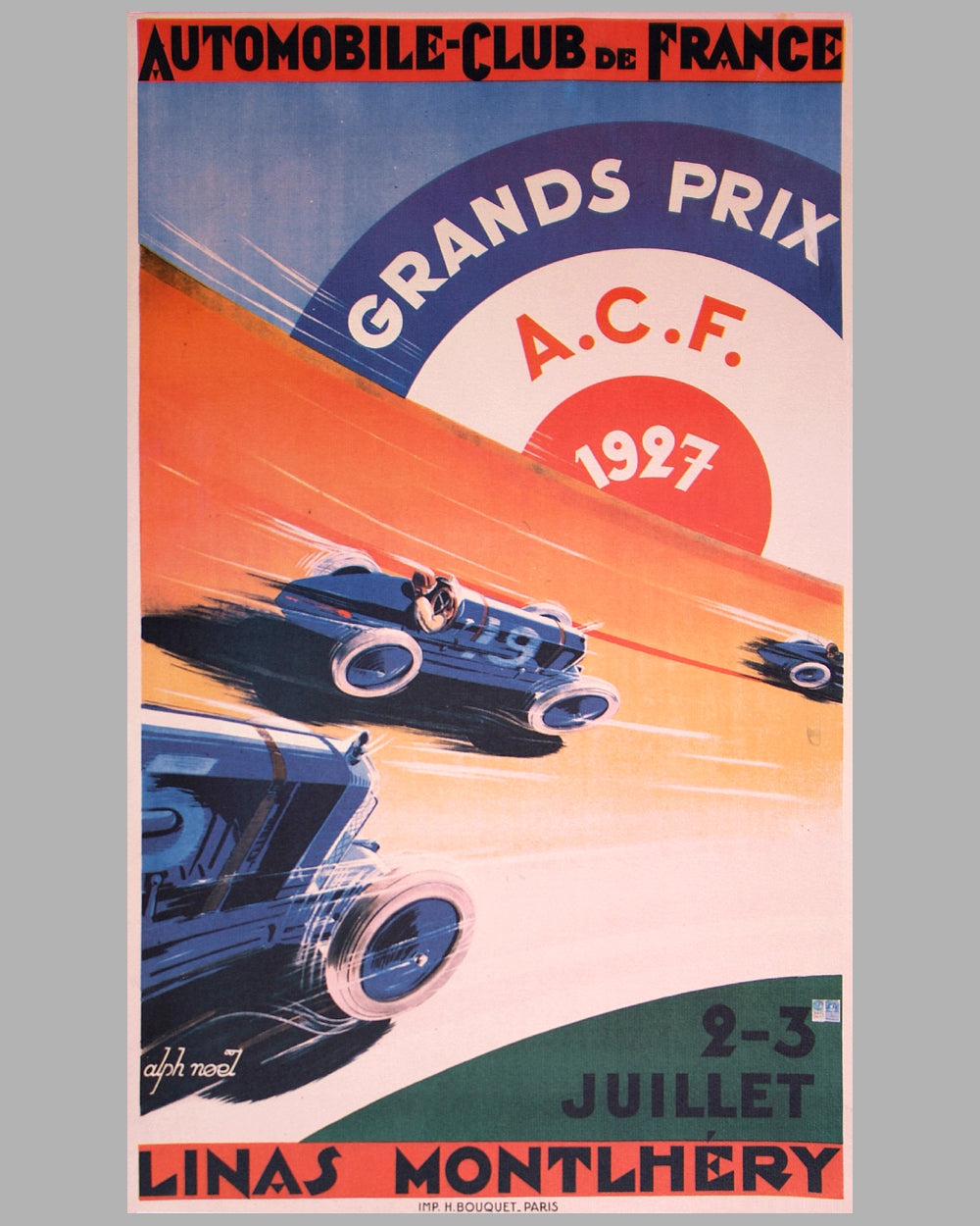 French Grand Prix at Montlhery 1927 official event poster by Alph Noel