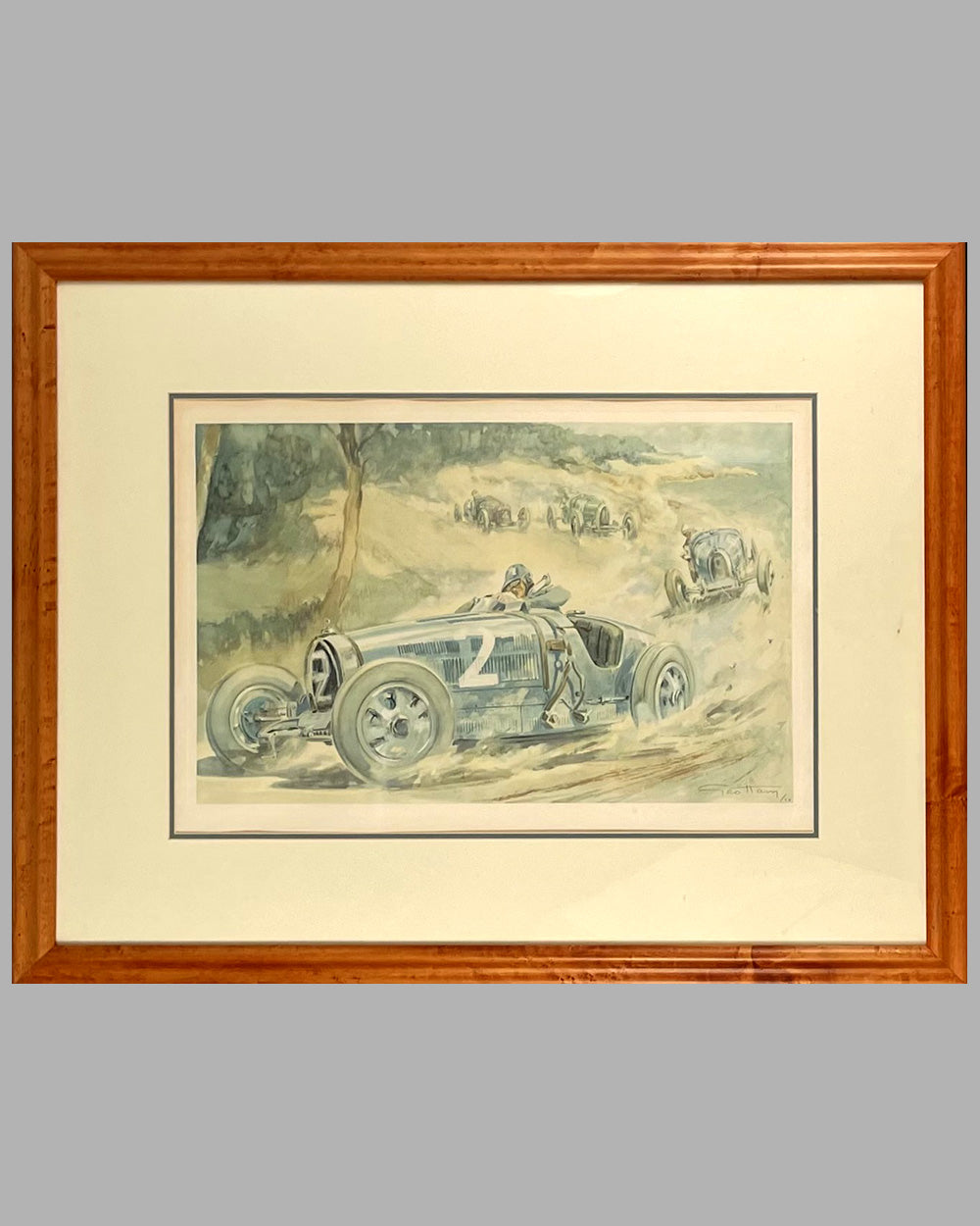 16 - Louis Chiron at the Antibes G.P. in 1928 lithograph by Geo Ham - Est. $700-$950