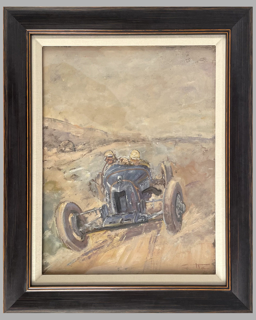 """Bugatti at Speed"" oil painting by Geo Ham, 1928"