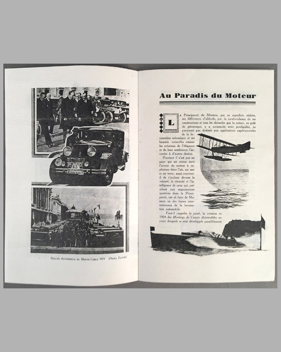 1929 Monaco Grand Prix program from the collection of Rene Dreyfus inside