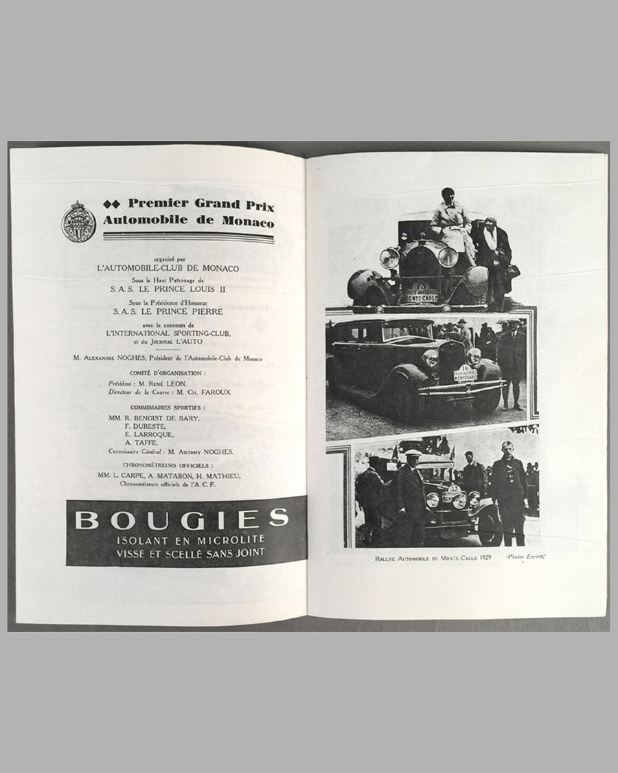 1929 Monaco Grand Prix program from the collection of Rene Dreyfus inside 2