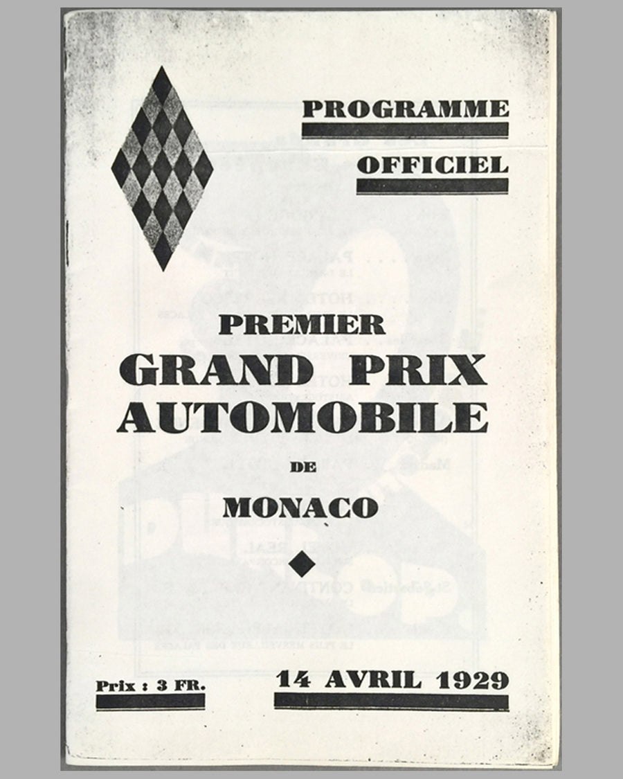 1929 Monaco Grand Prix program from the collection of Rene Dreyfus