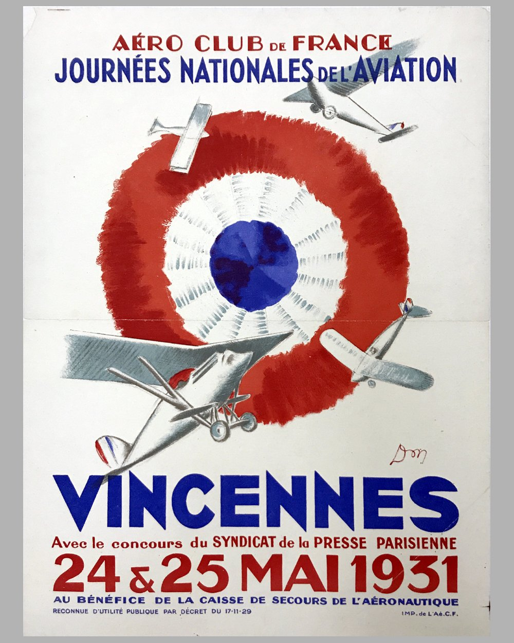 1931 Vincennes Air Show original event poster by Don, France