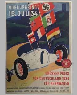 1934 Grosser Preis von Deutschland at the Nurburgring program, autographed