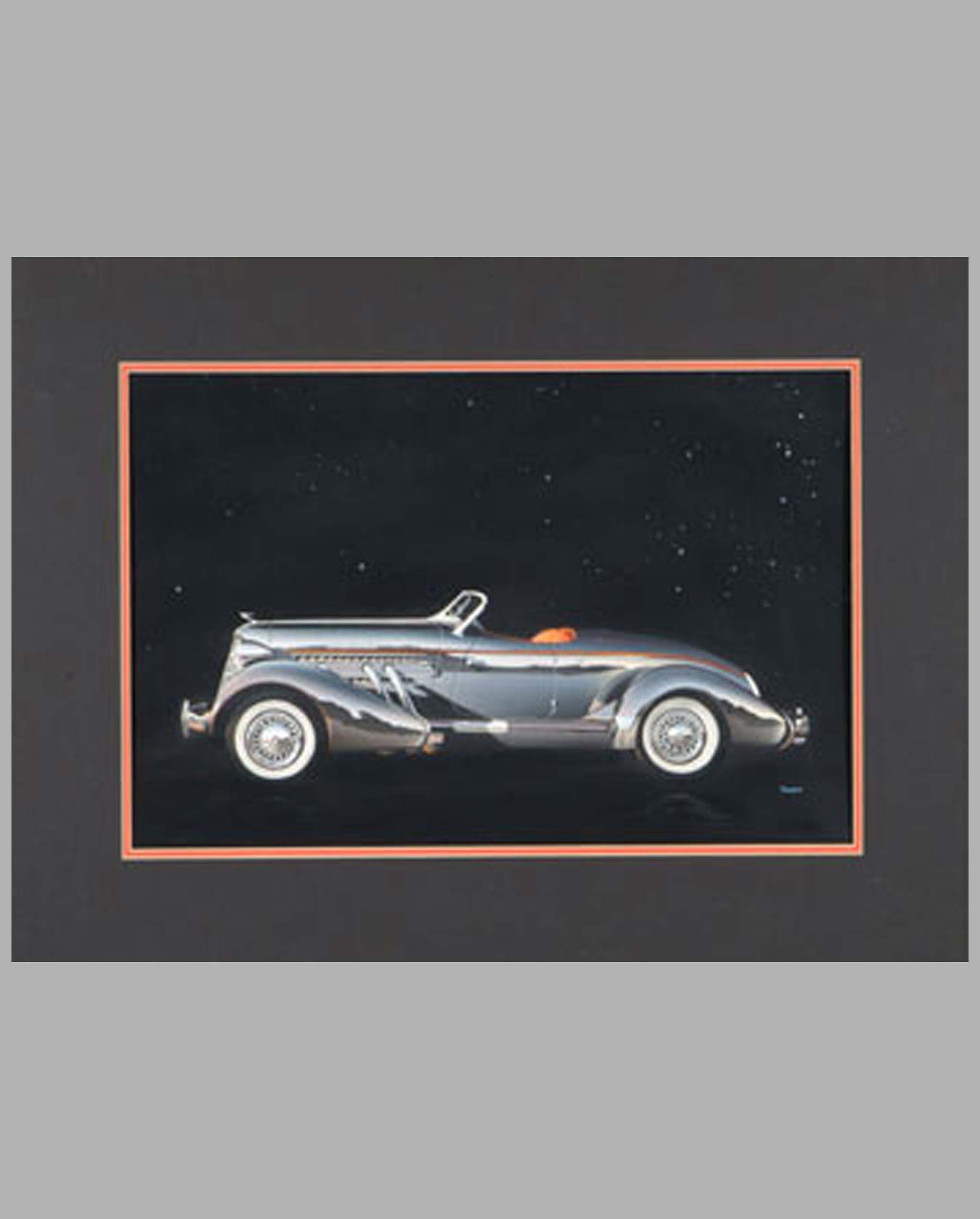 1936 Auburn 852 Speedster gouache by Thierry Thompson