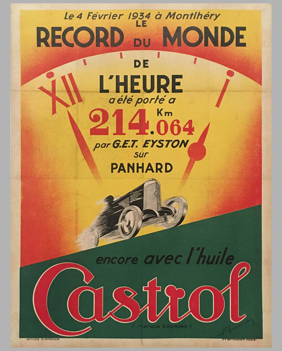 Castrol original advertising poster for 1936 world record