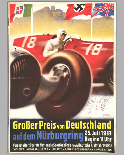 1937 Grand Prix of Germany original race program , Autographed by John Fitch