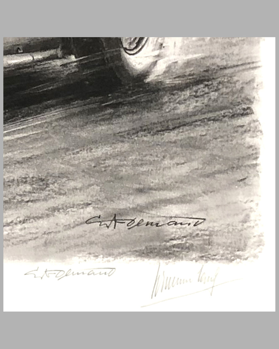 1939 German GP at the Nurburgring print by Carlo Demand, Autographed by Hermann Lang, signature detail