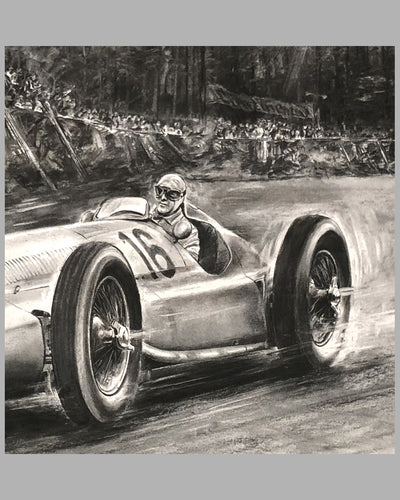 1939 German GP at the Nurburgring print by Carlo Demand, Autographed by Hermann Lang, car detail