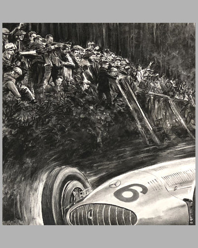 1939 German GP at the Nurburgring print by Carlo Demand, Autographed by Hermann Lang, crowd detail