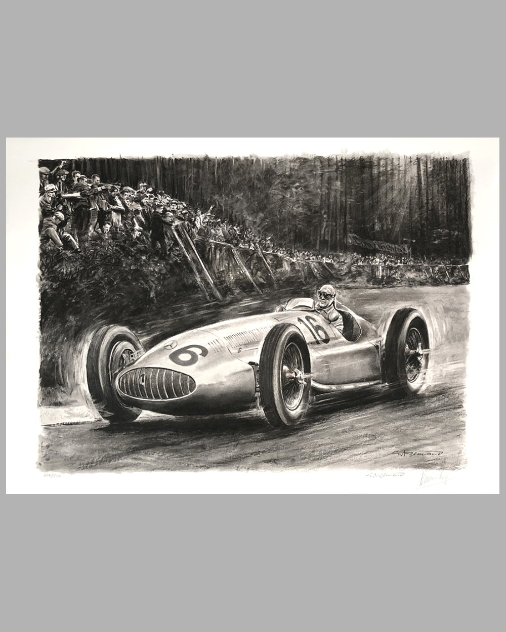 1939 German Grand Prix at the Nurburgring print by Carlo Demand, Autographed by Hermann Lang