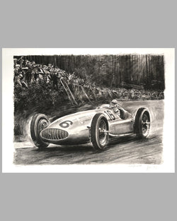 1939 German GP at the Nurburgring print by Carlo Demand, Autographed by Hermann Lang