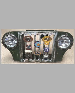 1940's Army Jeep front grill with 8 vintage American Automobile Club badges