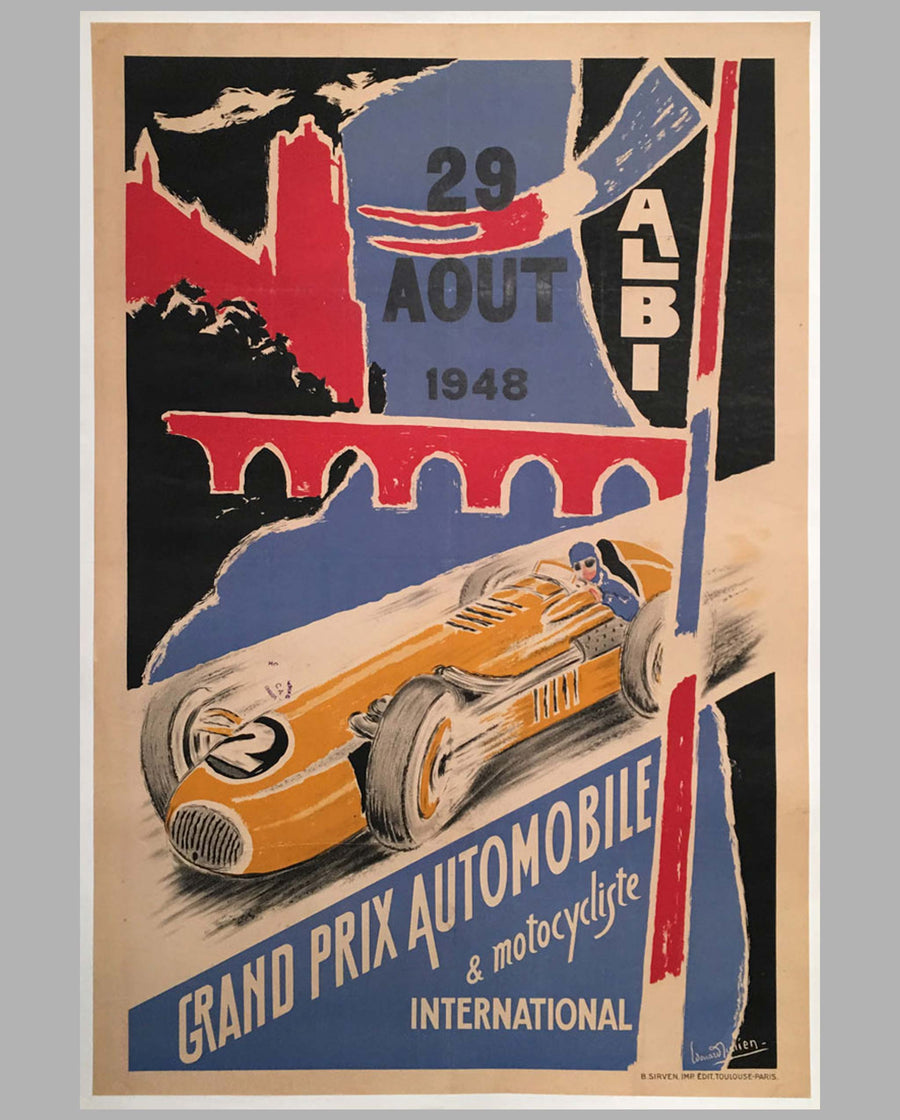 Grand Prix Automobile et Motocycliste International Albi 1948 original poster by Howard Julien