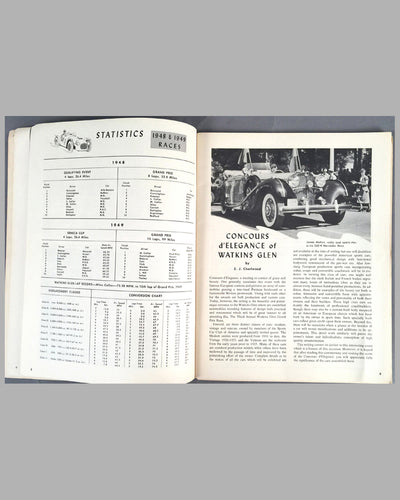 1950 U.S. Grand Prix original program at Watkins Glen inside