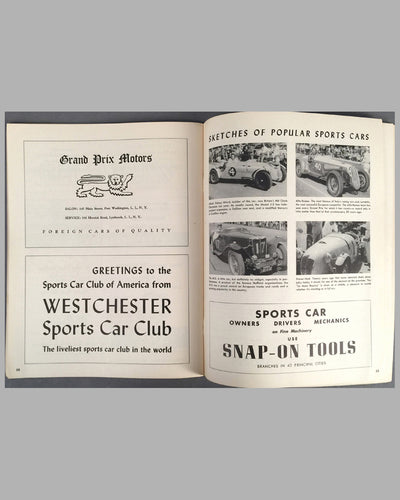 1950 U.S. Grand Prix original program at Watkins Glen inside 3