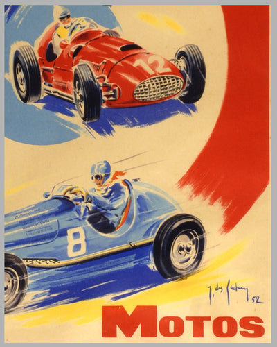 1952 French Grand Prix original advertising poster 2
