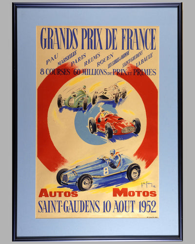 1952 French Grand Prix original advertising poster
