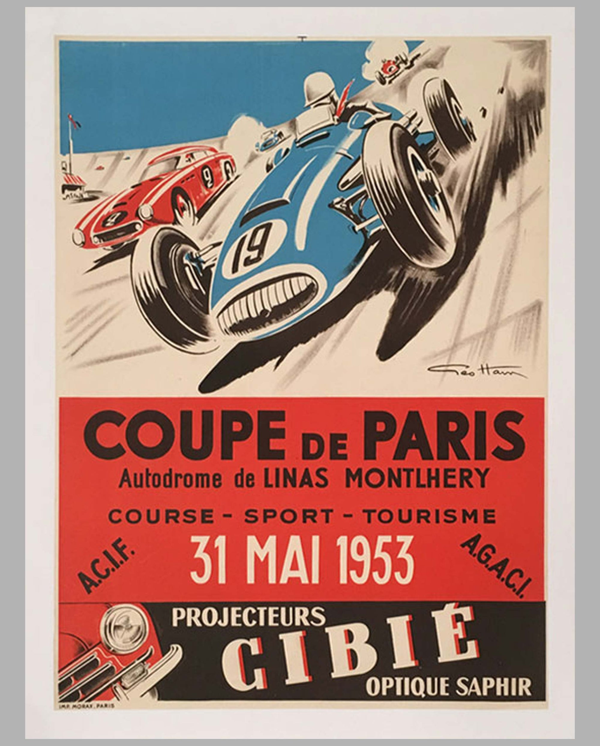 1953 Coupe de Paris original poster by Geo Ham