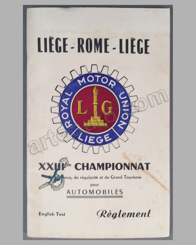 Liege-Rome-Liege 1953 rally rule book for GT cars with course layout, entry forms, prices