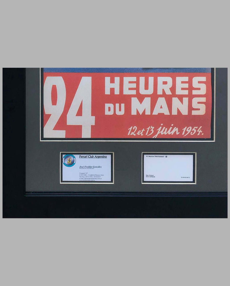 1954 24 Hours of Le Mans, ACO reproduction poster, autographed, details