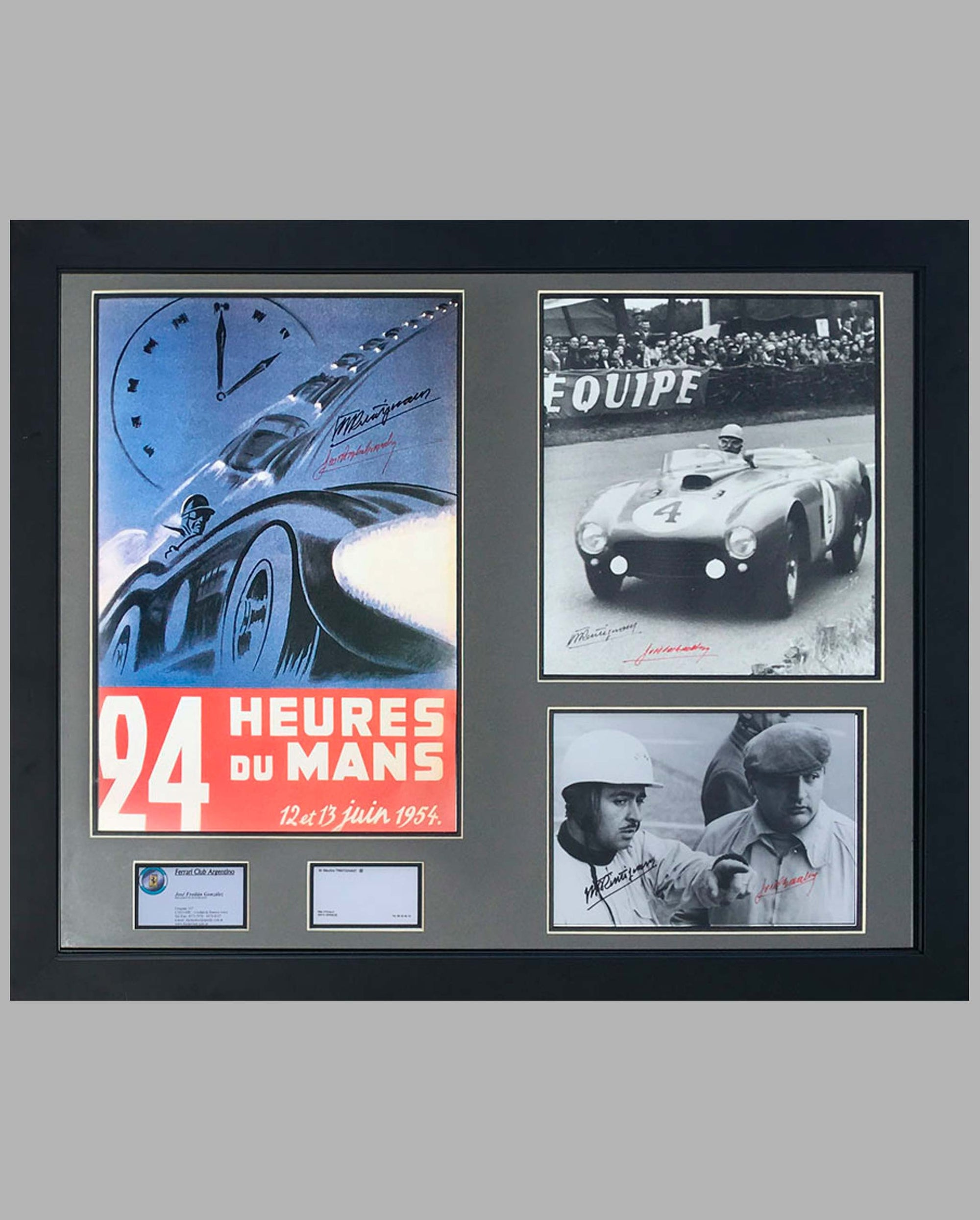 1954 - 24 Hours of Le Mans, ACO reproduction poster, Autographed by Maurice Trintignant and Jose Froilan Gonzalez