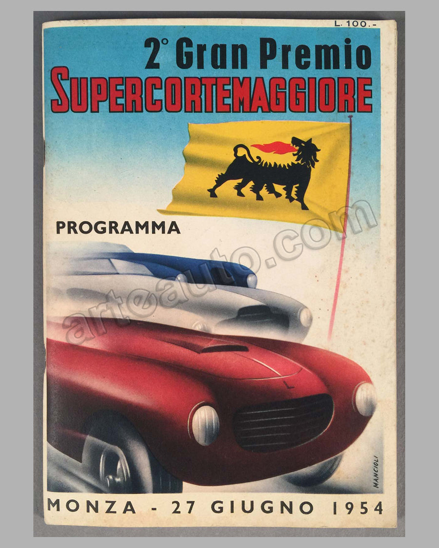 2nd Gran Premio Supercortemaggiore race program 1954, at Monza for sports racing and GT cars