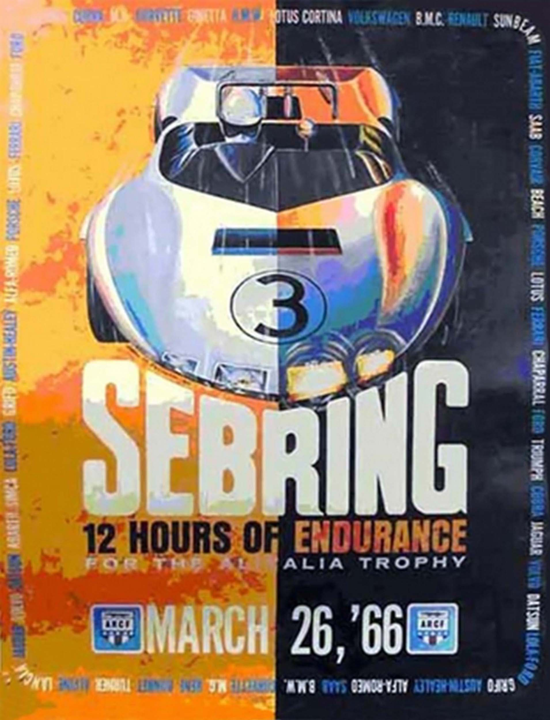 1966 - 12 Hours of Sebring Original Event Poster by John Peckham