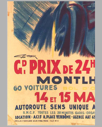 Grand Prix de 24 heures de Paris 1955 original Poster by Geo Ham 3
