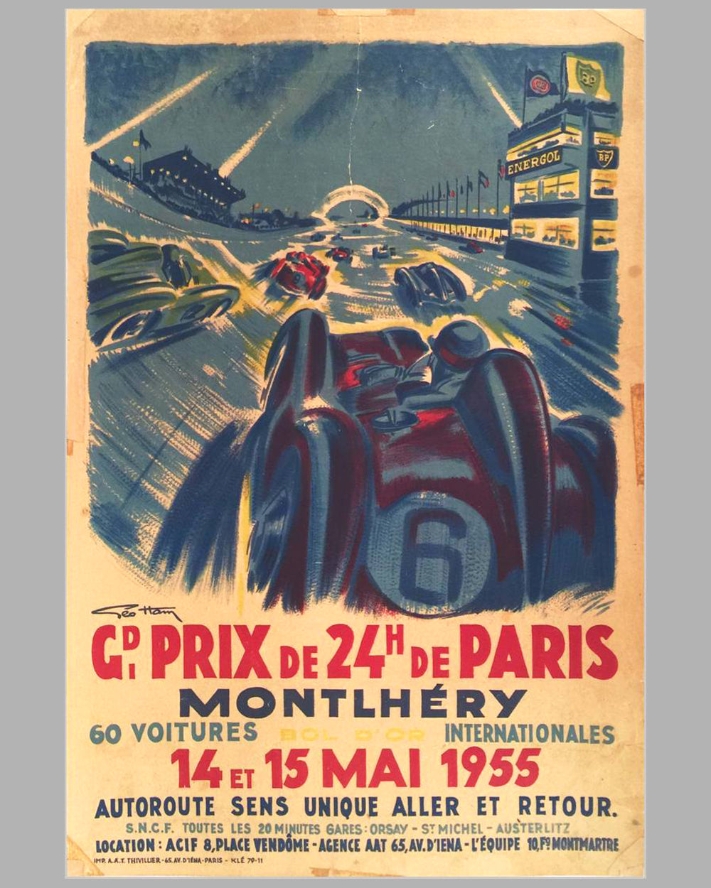 1955 Grand Prix de 24 heures de Paris original Poster by Geo Ham