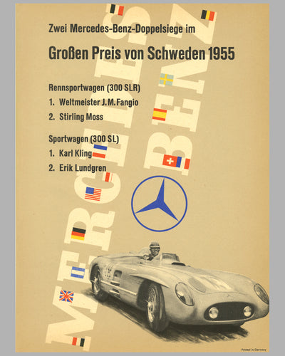 1955 Grand Prix of Sweden original Mercedes-Benz poster
