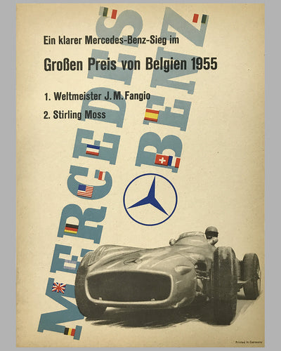 1955 Grand Prix of Belgium Mercedes-Benz original victory poster