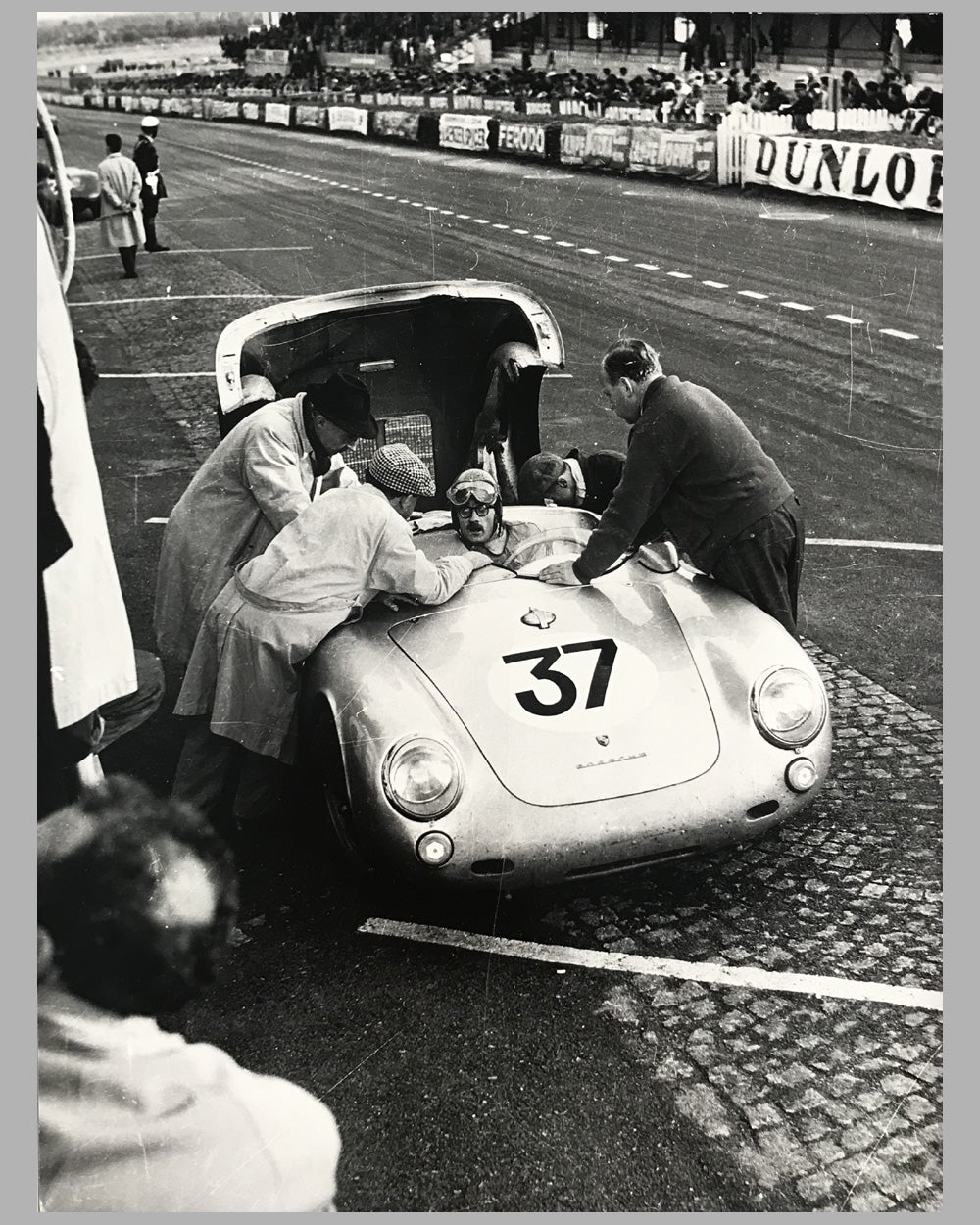 Porsche 550 at le Mans in 1955 b&w photograph