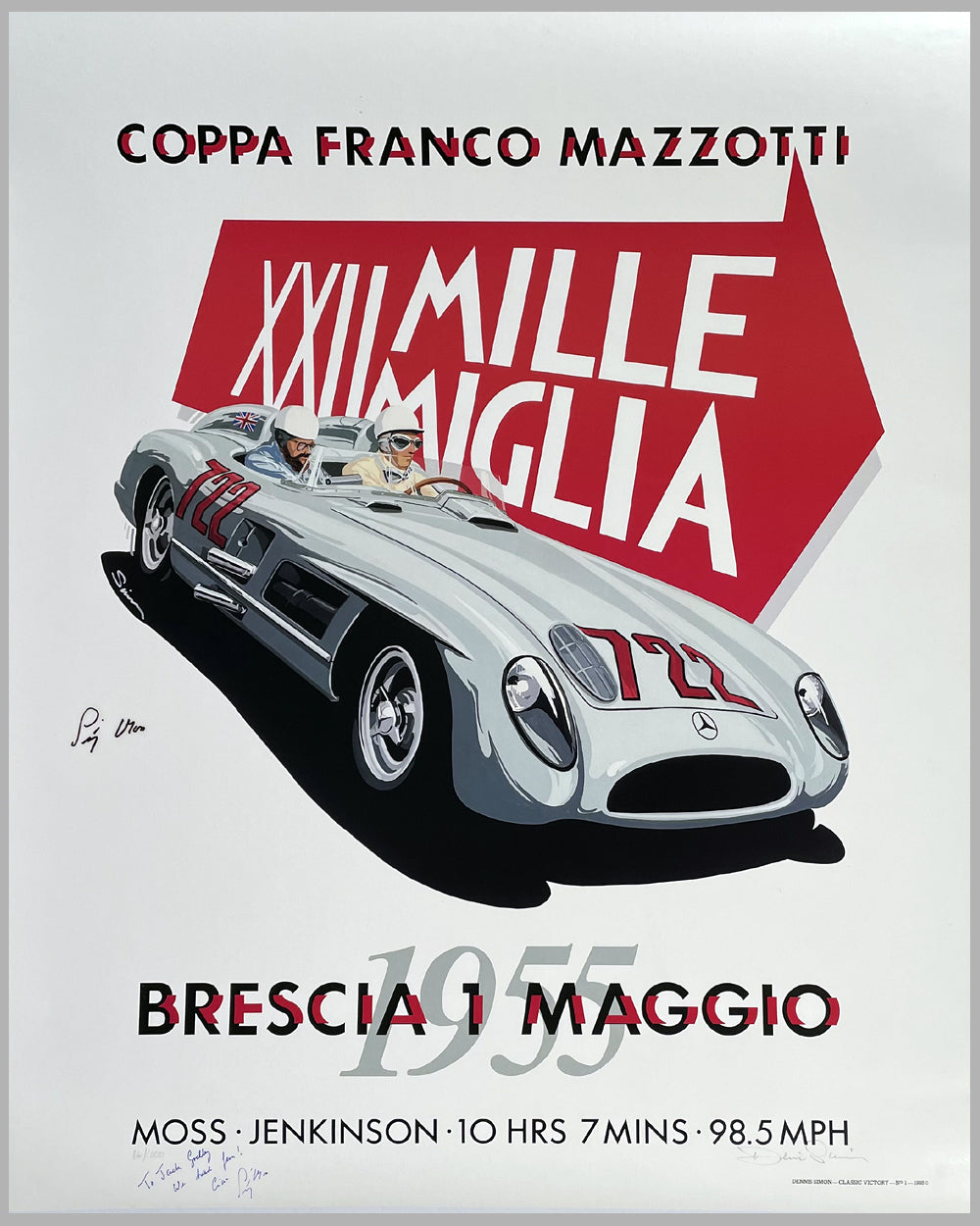 Mille Miglia 1955 commemorative poster by Dennis Simon, autographed by Stirling Moss