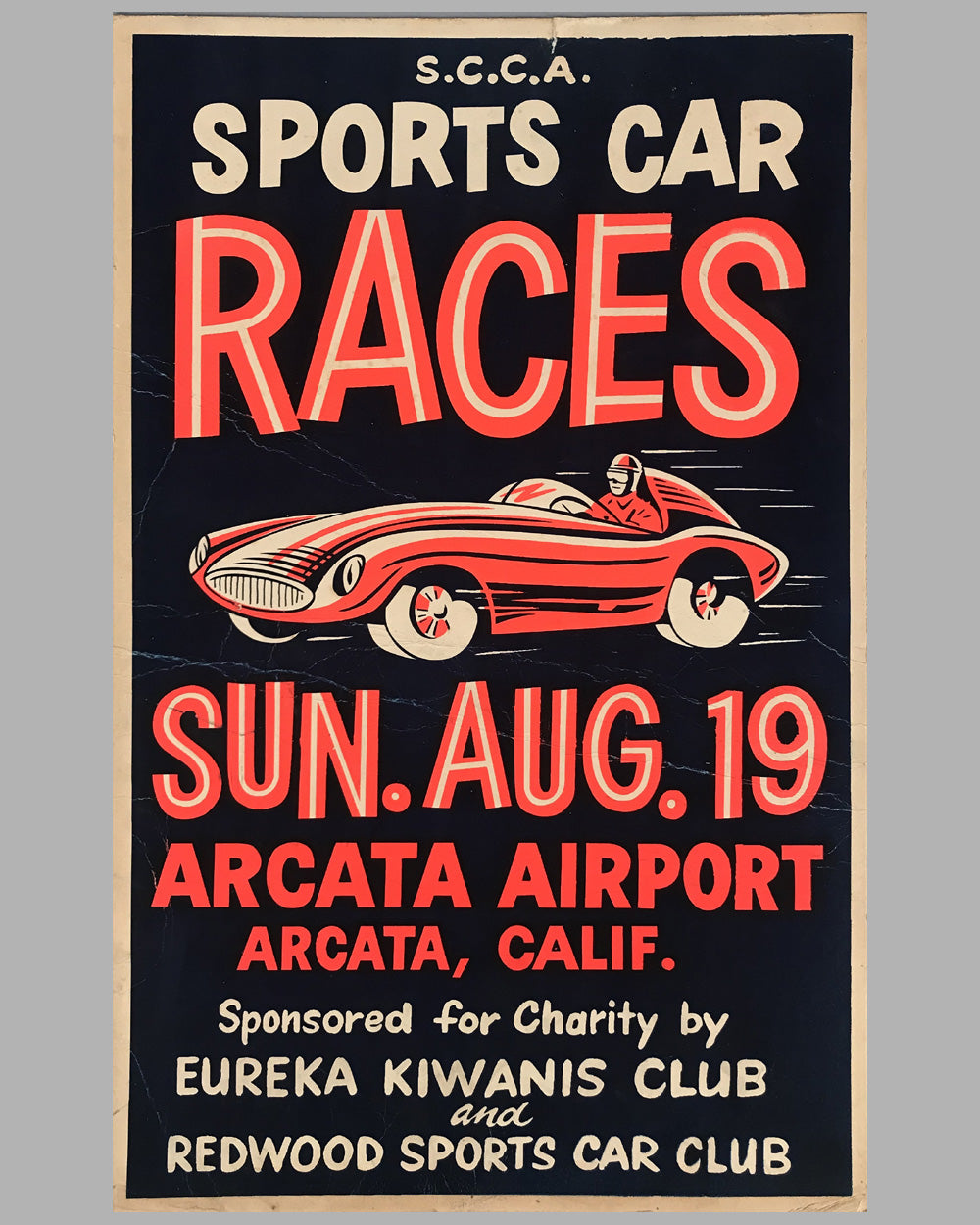 1956 SCCA Sports Car Races at Arcata Airport California original poster