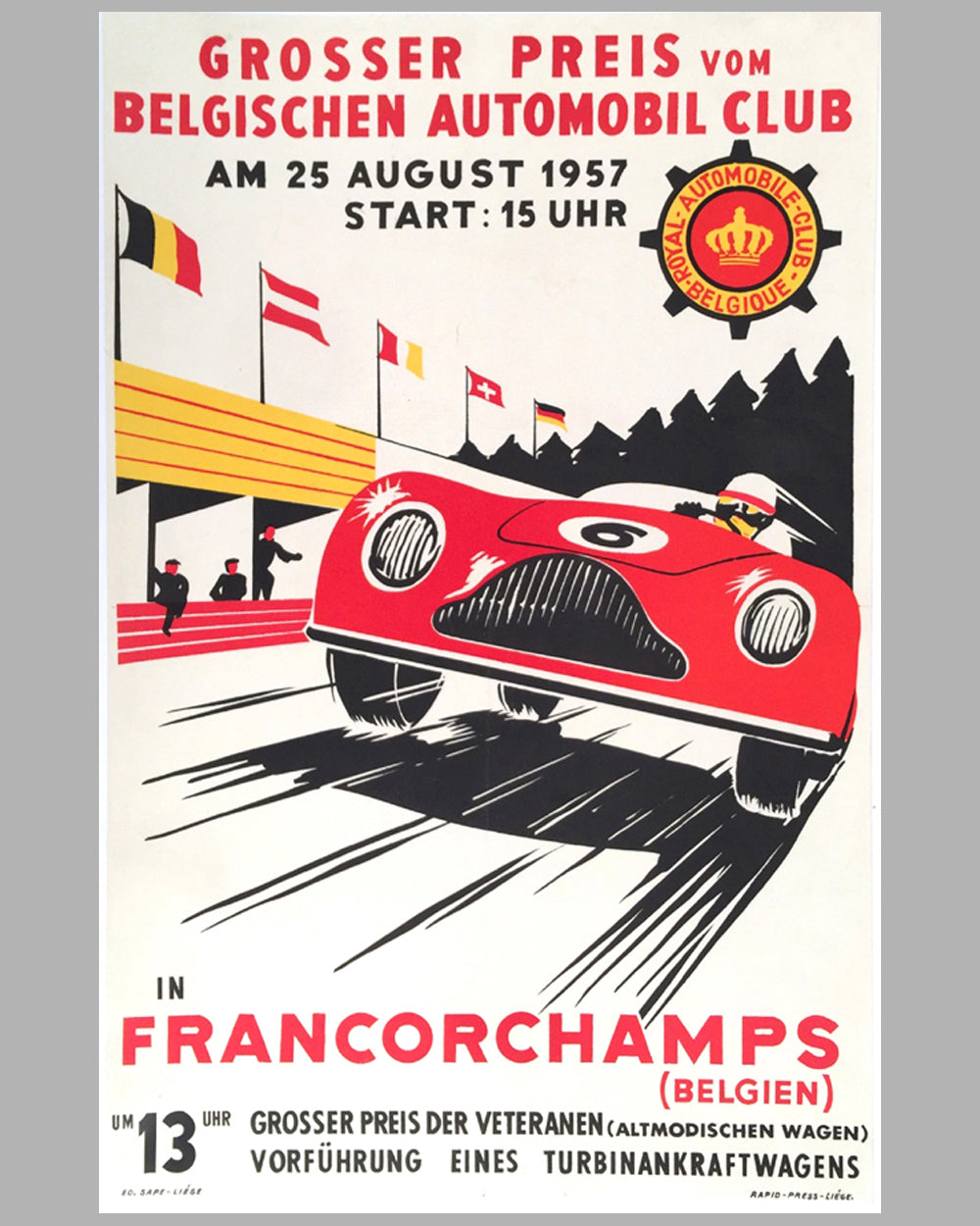1957 Grand Prix of Belgium original poster