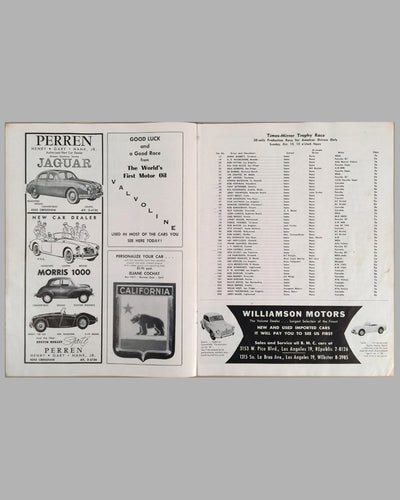US Grand Prix Sports car official program at Riverside International Raceway 1958 inside